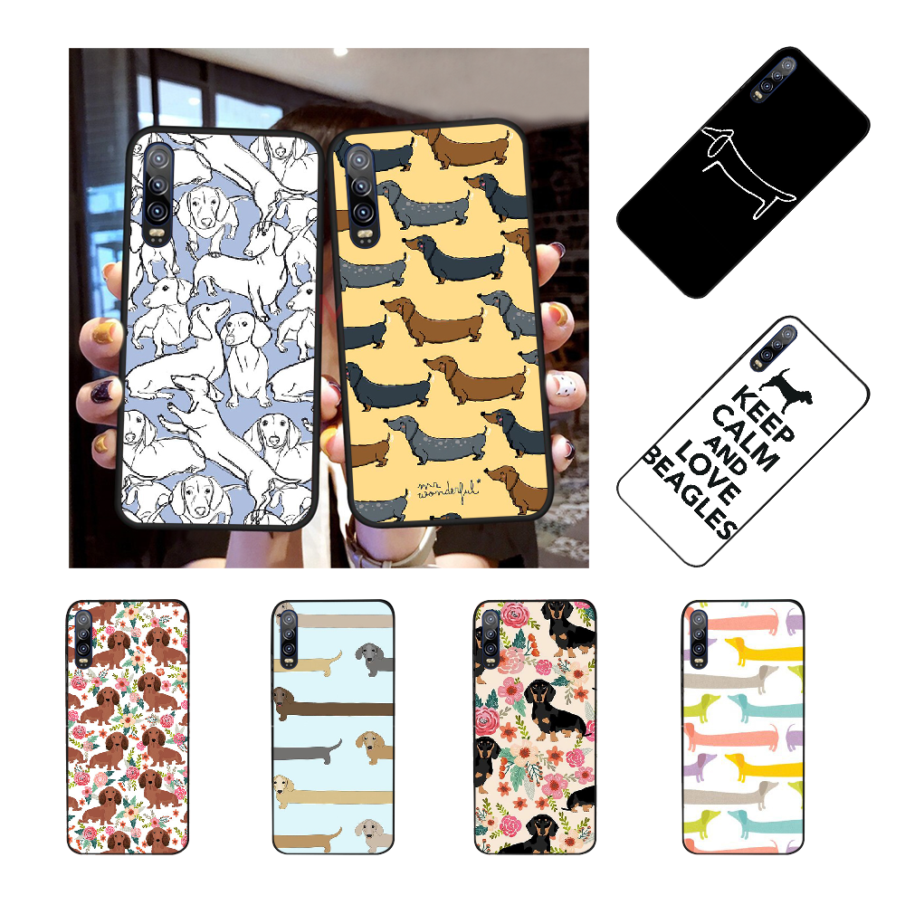 Animals Dogs Dachshund Cover Black Soft Shell Phone Case For Huawei Honor 20 10 9 8 8X 8C 9X 7C 7A Lite View