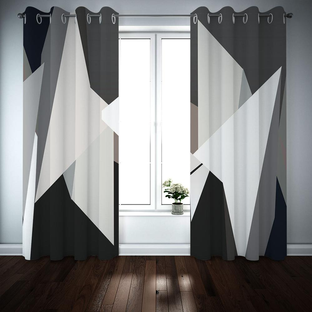 Black And White Blackout Curtains Modern Fashion Curtains For Living Room Bedroom Window Treatment