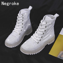 Brand Ankle Boots for Women Martin Boot Lace Up Canvas Shoes Woman Transparent Platform Casual Booties 2019 Autumn Zapatos Mujer цены онлайн