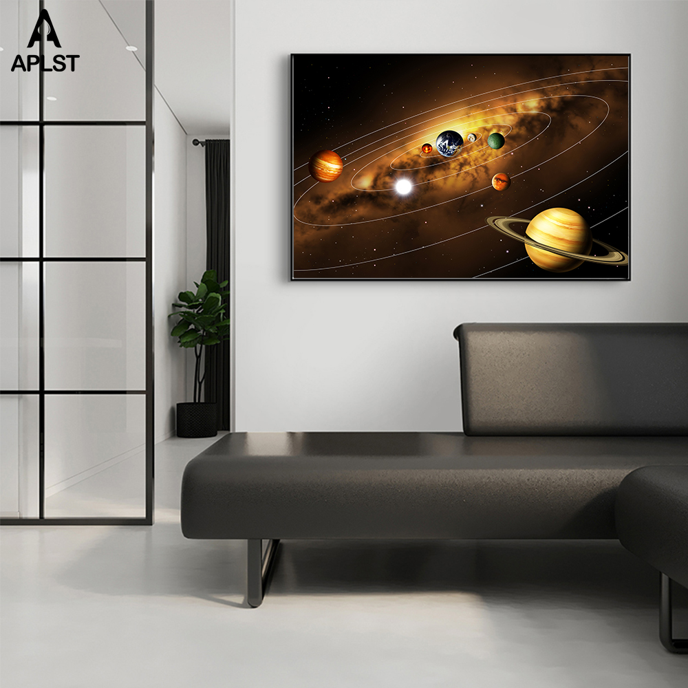 Solar System Planet Earth Moons Galaxy Space Printed Polyester Poster Home Decor