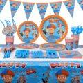 91 шт для Blippi вечерние комплект поставки Blippi вечерние свадебные сувениры День рождения вечерние украшения покрытие стола плиты салфетки для...