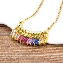 Heißer Verkauf CZ Regenbogen Halskette Stein für Frau Bunten Halskette Anhänger Mode Bunte Lange Kette Halskette Schmuck