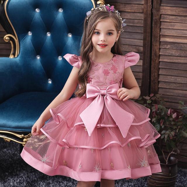 Kids Girl Cake Tutu Flower Dress Children Party Wedding Formal Dress for Girl Princess First Communion Costume New Arrival 2020 2