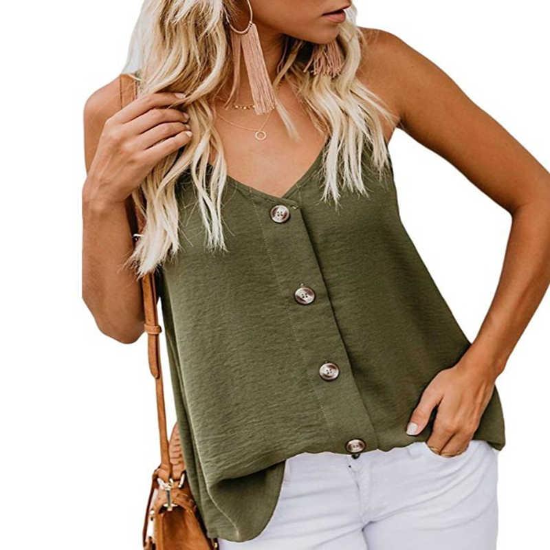 섹시한 여름 blusas mujer de moda 2019 한국어 boho 시폰 v 넥 여성용 블라우스 우아한 민소매 캐주얼 셔츠 탑스 6927