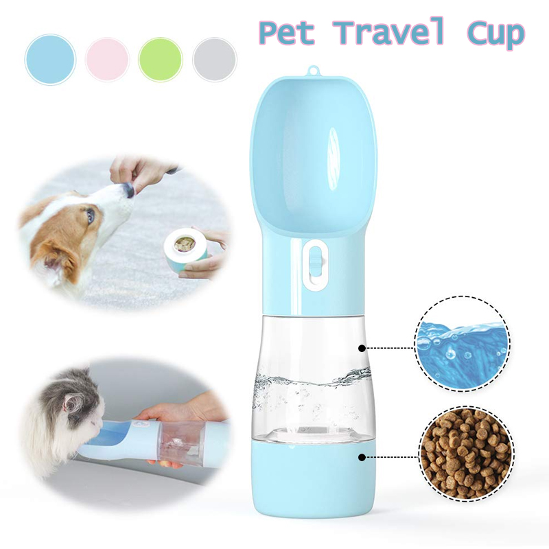 Portable Pet Dog Water Bottle Travel Dog Food Water Bowl Feeding Drinking Cup Outdoor Cat Water Dispenser 500 ML Pet Products