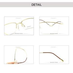 Image 4 - Monture en titane pour sourcils, lunettes optiques lunettes de lecture, marque classique, Simple, demi jante, légère, Flexible, nouveau