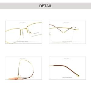Image 4 - Titanium Eyebrow Eyewear Optical Eyeglasses Frames Classic Brand Simple Prescription Half Rim Light Flexible Reading Goggles New