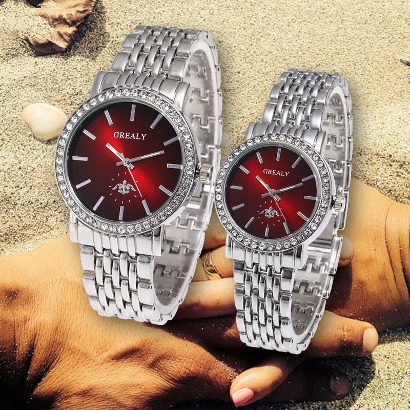 Reflective Dial Rhinestone Couple Watches Stainless Steel Man Ladies Luxury Quartz Wristwatch Lovers Watch Montres Femme