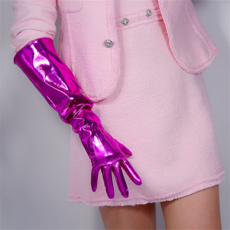 50cm Patent Leather Long Gloves Big Sleeve Lantern Sleeve Emulation Leather Bright Leather Bright Rose Red Female PU12-50W