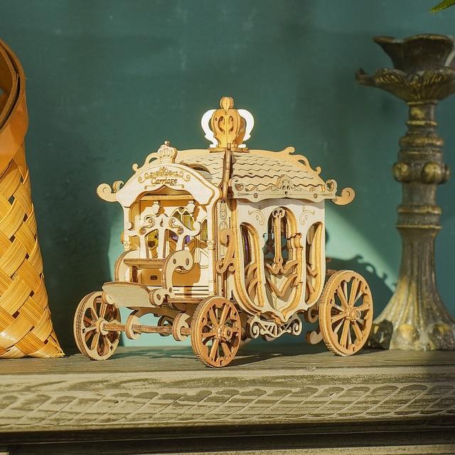 Robotime 3 Kinds DIY 3D Transportation Wooden Puzzle Game Assembly Vintage Car Tramcar Carriage Toy Gift for Children Adult 25