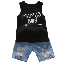 Cute Infant Baby MAMAS Boy Black Tank Tops+Jean Shorts Outfit Baby Boy Clothes Set Cotton Summer Toddler Boys Clothing