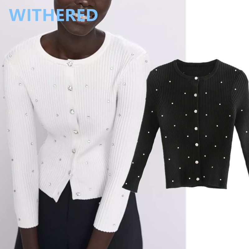 Withered Spring Cardigans Women England Office Lady Simple Manual Drilling Single Breasted Jewellery Buttons Knitting Cardigans