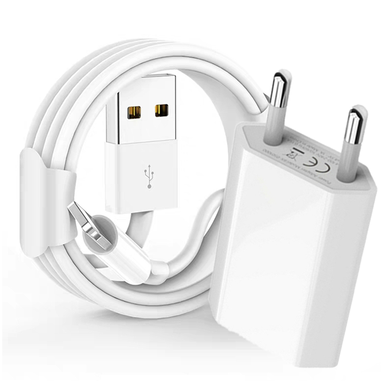 Kit 1m USB Cable + EU Plug USB Charger For iPhone 7 8 Plus X XR XS Max 5S 5 6S 6 USB Data Charging Cable EU Travel Wall Chargers