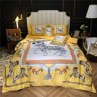 Luxury printed satin silk cotton bedding set quilt cover 6pcs queen king size bed set horse bed linen pillowcases bed sheet set