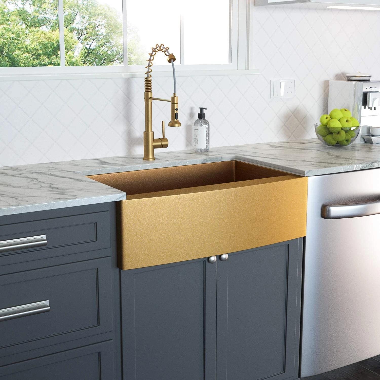 Farmhouse Sink Gold Kitchen Sink Apron Front 16 Gauge Matte Gold Stainless Steel Deep Single Bowl Farm Sinks Kitchen Sinks Aliexpress