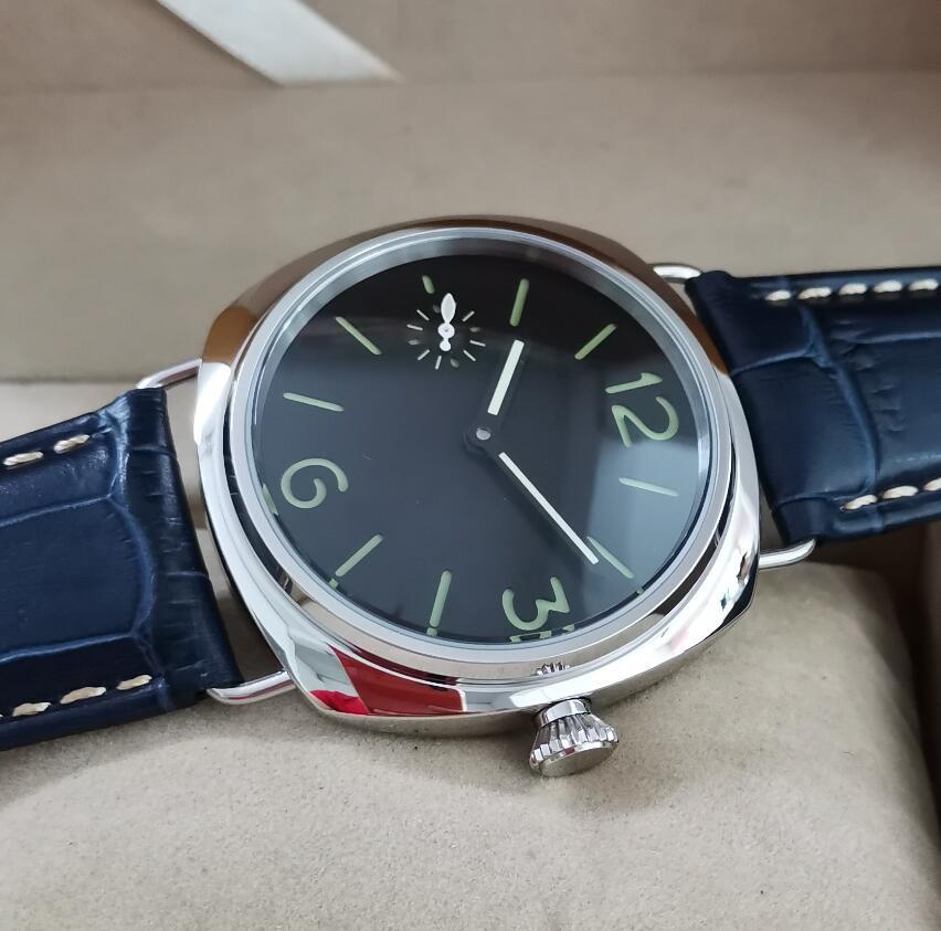 No Logo 45mm Stainless Steel Manual Mechanical Men's Watch Sandwich Double Deck Watch Dial Seagull ST3600-2 Movement G077