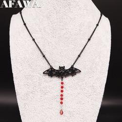 2021 Gothic Bat StainlessSteel Chain Necklace Women Black Color Necklaces Jewelry cadenas de acero inoxidable para mujerN3060S2