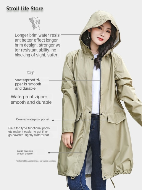 Long Adult Rain Coat Women Waterproof Suit Rain Poncho Outdoor Hiking Windbreaker Yellow Raincoat Jacket Gabardina Mujer Gift 2