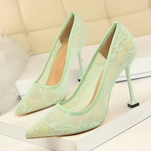 Sexy Lace Hollow Stiletto Pumps Pointed Toe Slip On High Heel Woman 2019 Summer Spring Fall Night Club Shoes Ladies Dress