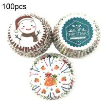 100Pcs Christmas Cap Snowman Print Cupcake Liners Wrappers Cake Baking Cup Tray Oil Proof Papercupcakes breads dessert container(China)