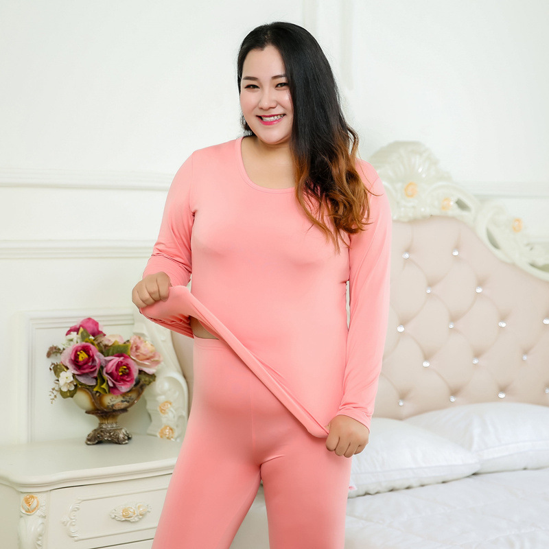 Autumn And Winter Plus Size Plus Velvet 200 Kg Sanding Thin Velvet Autumn Pants Thermal Underwear Set