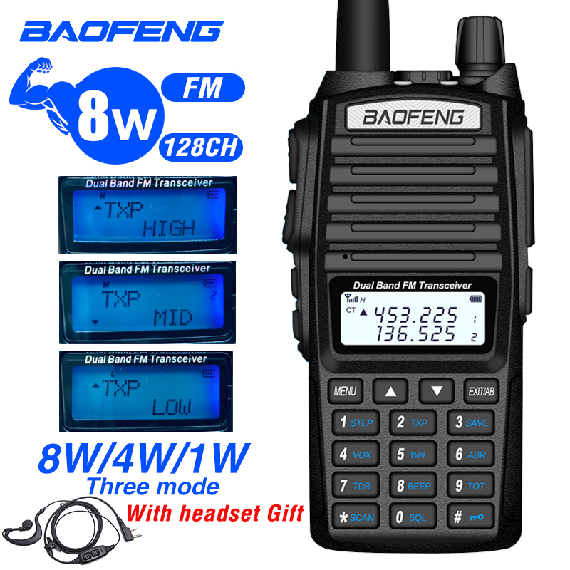 Baofeng uv 82 Walkie Talkie 8W Dual-Band Two way Radio CB136-174/<font><b>400</b></font>-520 <font><b>MHz</b></font> Handheld Ham FM Radio Receiver uv-82 Talkie Walkie image