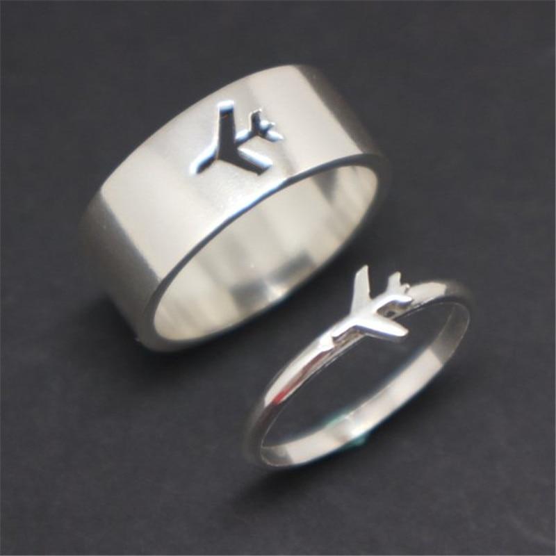 MKENDN Airplane Couple Ring for Women Men Pilot & Flight Butterfly Dinosaur Shark Ring Attendant Wedding Set Aviation Lover Gift