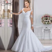 SERMENT Elegant Lace Mermaid Wedding Dress Full Floral Print Up Church Suitable for Africa Europe Americas Bride