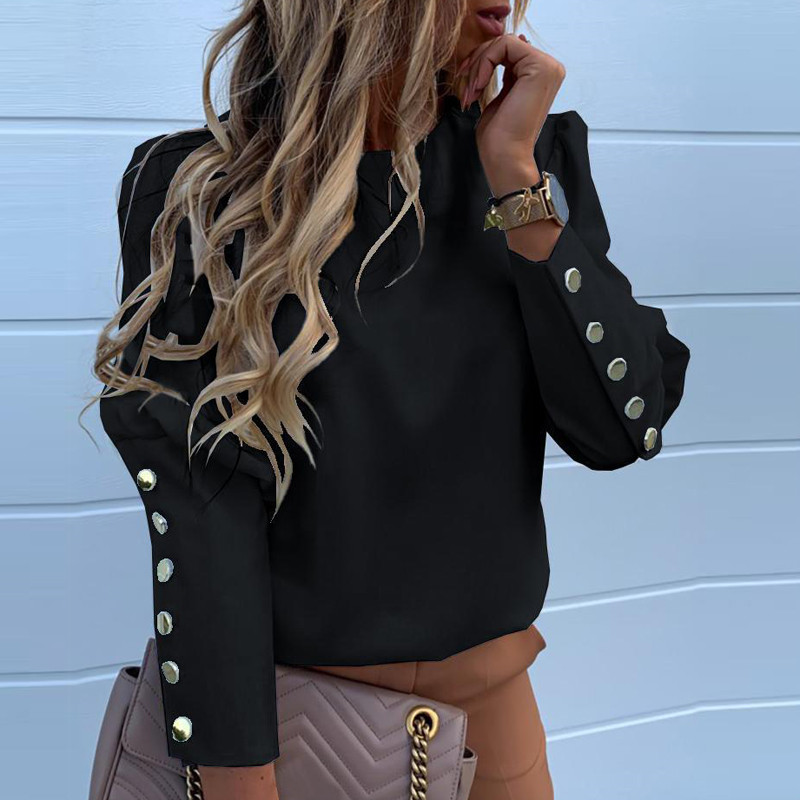 2020 Work Wear Women Blouses Casual Solid O Neck Long Sleeve Metal Buttons Shirt Tops Plus Size Autumn Blouse 10