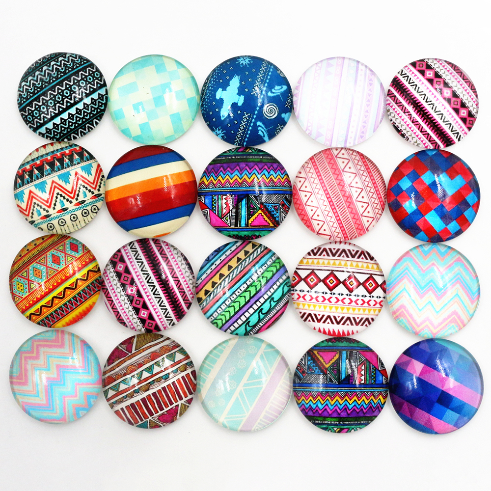 Hot Sale 10pcs 20mm 25mm New Fashion Mixed Totem Handmade Photo Glass Cabochons Pattern Domed Jewelry Accessories Supplies