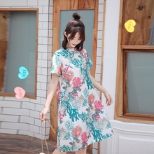 A069# Chinese Style Cheongsam Maternity Dress Elegant Loose Straight Clothes for Pregnant Women Summer Printed Linen Pregnancy