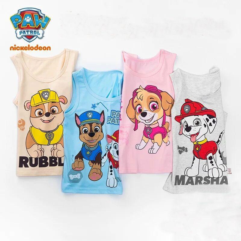 2PCS/set Original Paw Patrol 2020 New 100% Cotton Underwaist Vest Singlet Chase Marshall Skye Rubble Children Birthday Gift Doll
