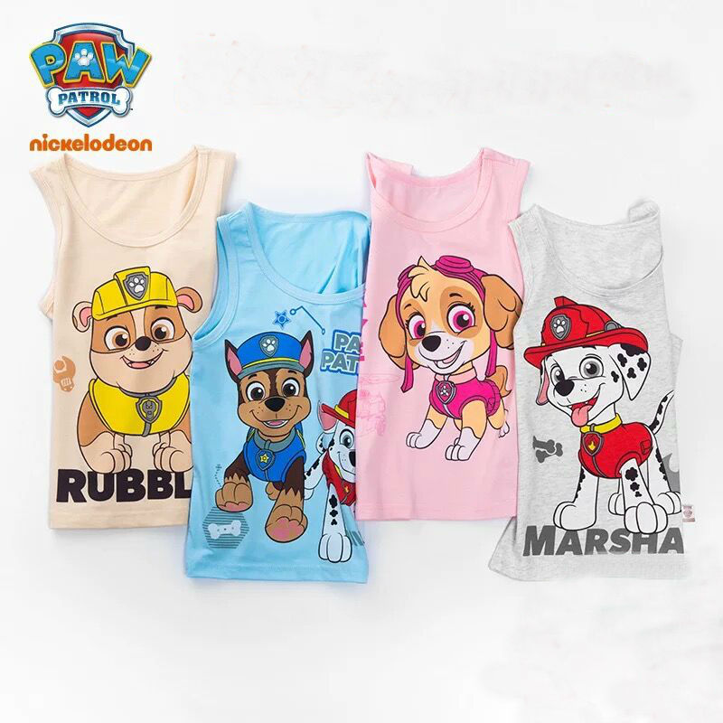 2PCS/set Original Paw Patrol 2020 New Hot Cotton Underwaist Vest Singlet Chase Marshall Skye Rubble Children Birthday Gift Doll