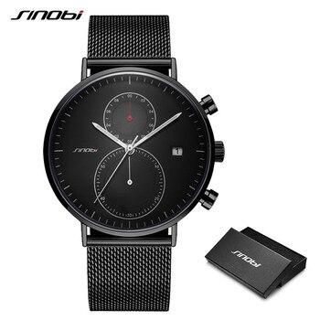 SINOBI Mens Watches Top Brand Luxury Stainless Steel Quartz Wristwatch Male Luminous Pointer Men Business Thin Waterproof Watch