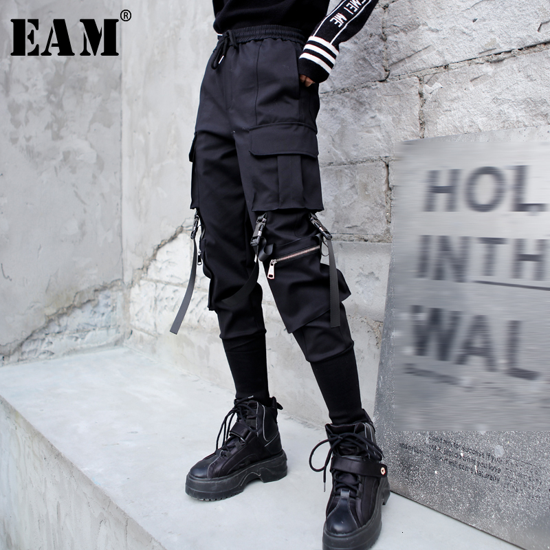 [EAM] High Elastic Waist Black Long  Pocket Split Trousers New Loose Fit Pants Women Fashion Tide Spring Autumn 2020 1M674