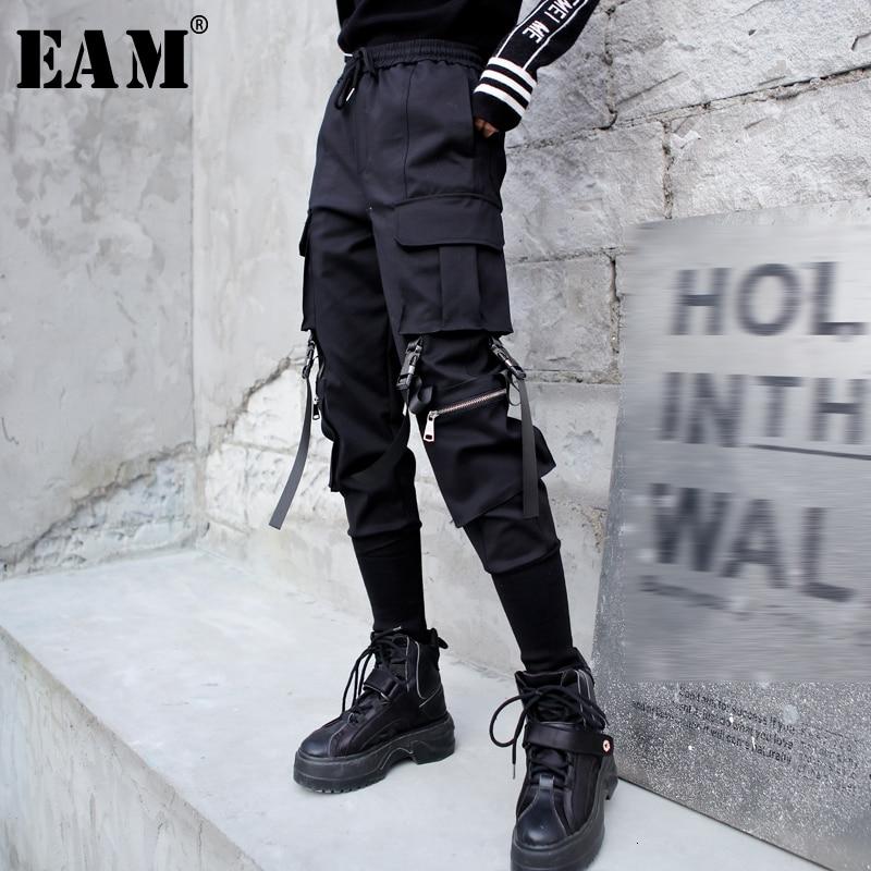 [EAM] High Elastic Waist Black Long  Pocket Split Trousers New Loose Fit Pants Women Fashion Tide Spring Autumn 2020 1M674