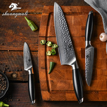 Home Kitchen Chef Knives 3pcs Damascus Steel Knife Set High Quality Japanese Cleaver Fruit Kitchen Cooking Tools Set(China)