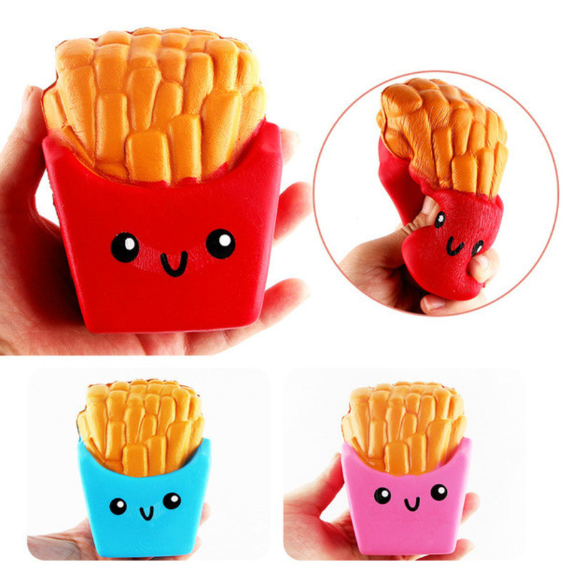 Kawaii Squishy Food Cream Scented French Fries Chips Squishies Slow Rising Stress Relief Toys Novelty Gag Toys For Children Kids