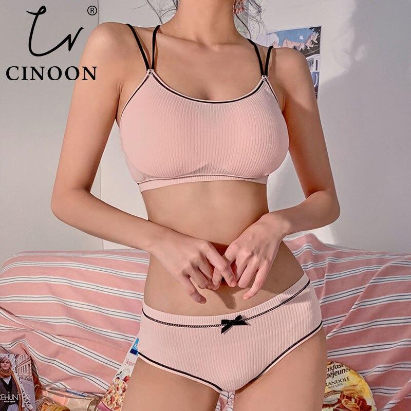 CINOON Japanese Lingerie Set Cotton Thin Screw Thread Push Up Bra Set Beauty Back Women Bra Panties Set Comfort Underwear