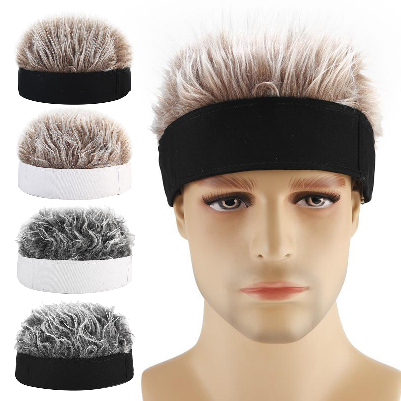Men Women Adjustable Beanie Hat with  Fake Hair Hiphop Short Wig Cap Funny