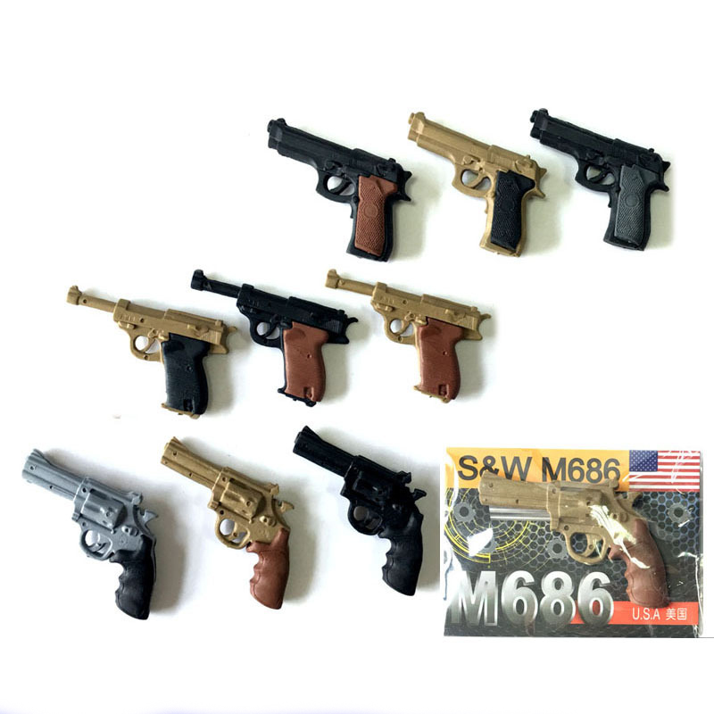4 Pcs Novelty Mini Pistol Shape Rubber Eraser Kawaii Kids Toy Gifts Papelaria School Office Learn Correction Stationery
