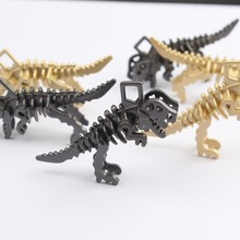Breloques en alliage de Zinc, 20x34mm, 2 pièces/lot, pendentifs en forme de dinosaure noir et doré, pour bricolage, bijoux, accessoires de fabrication de boucles d'oreilles