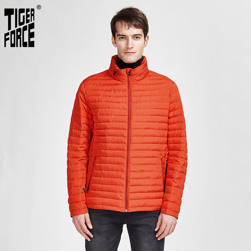 TIGER FORCE 2020 New Arrival Jackets Male High Quality Spring Autumn Zipper Down Jacket For Men Coat Casual Outerwear 50633