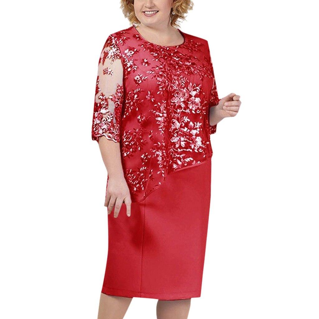 Women Plus Size Dress Fashion Lace Patchwork Party Dress Elegant Women Solid Round Neck Half Sleeve Pencil Dress #LR2