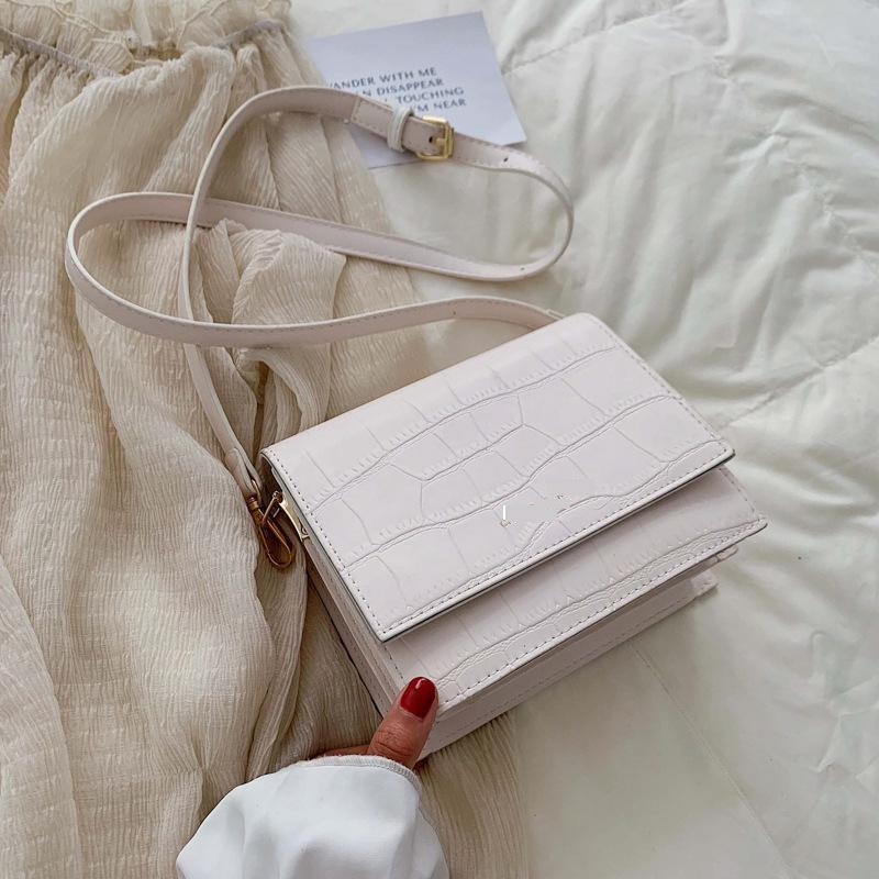 Simple And Versatile Women's Crocodile Pattern Fashion Design Cover Bag Bag Sweet Solid Color Multi-layer Shoulder Messenger Bag