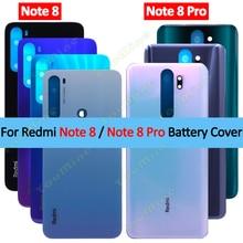 Dla Xiaomi Redmi note8 tylna pokrywa baterii obudowa szklana obudowa tylna obudowa wymień nie obiektyw aparatu dla Redmi note 8 pro obudowa tylna