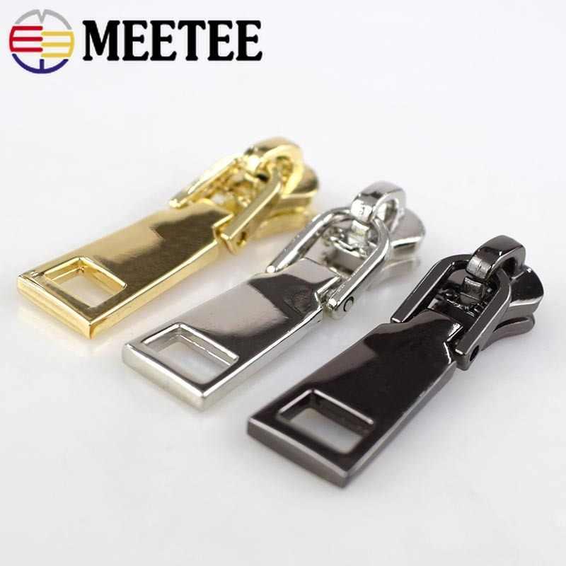 10Pcs 5# Zipper Head Metal Accessories Slider Replacement Zipper Pull DIY Metal Zipper Tooth,Luggage down jacket pull head