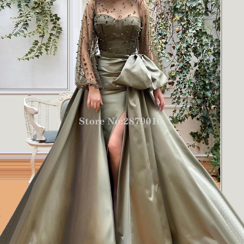Arabic Glamorous Mermaid Evening Dress Floor-Length Turkish Prom Dress Beaded Pearls Detachable Train Formal Dress 2020 Dubai