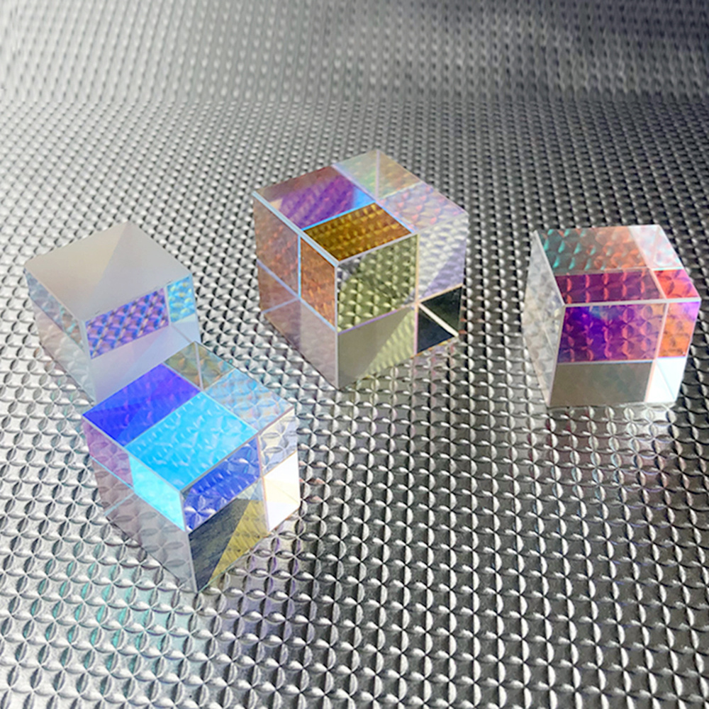 Dichroic Glass12.7mm Optical Color Prism Six-sided Light K9 Crystal  For Teaching Experiment Laser Cube Rainbow Glass Wholesale