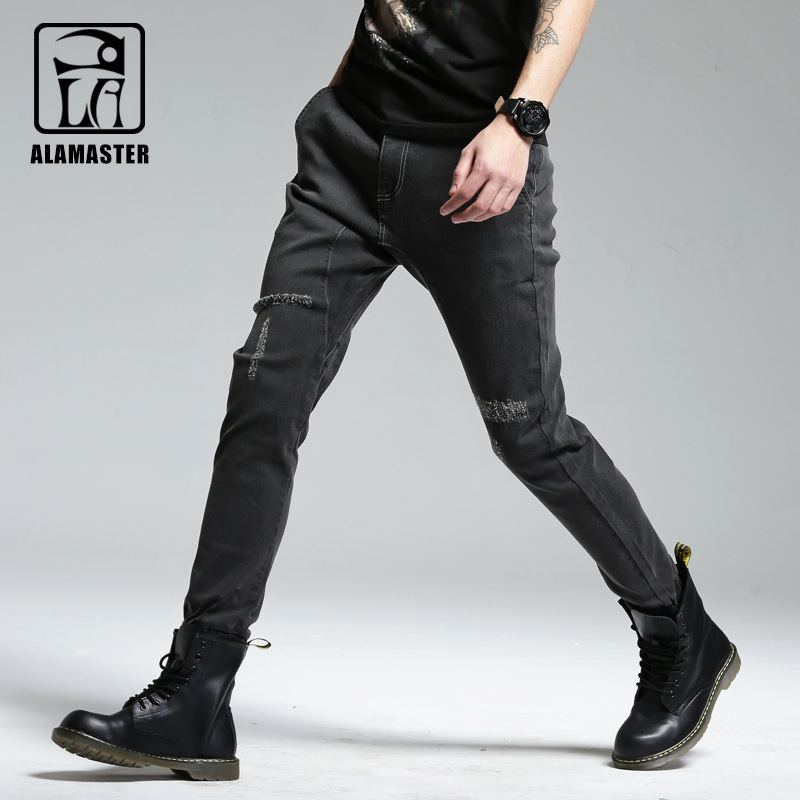 2018 Summer Men Harem Pants Men's Trend Beam Leg Scraping Rotten Brushed Black Jeans Soft And Comfortable MEN'S Trousers